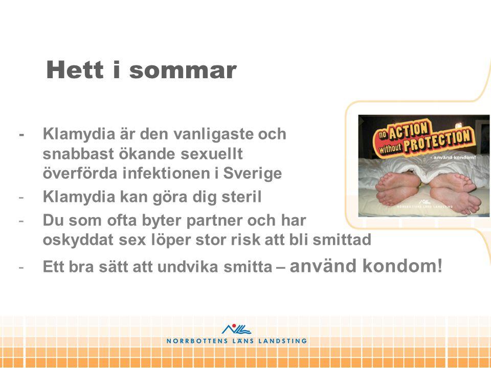 Hett i sommar - Klamydia är den vanligaste och snabbast ökande sexuellt överförda infektionen i Sverige -Klamydia kan göra dig steril -Du som ofta byt