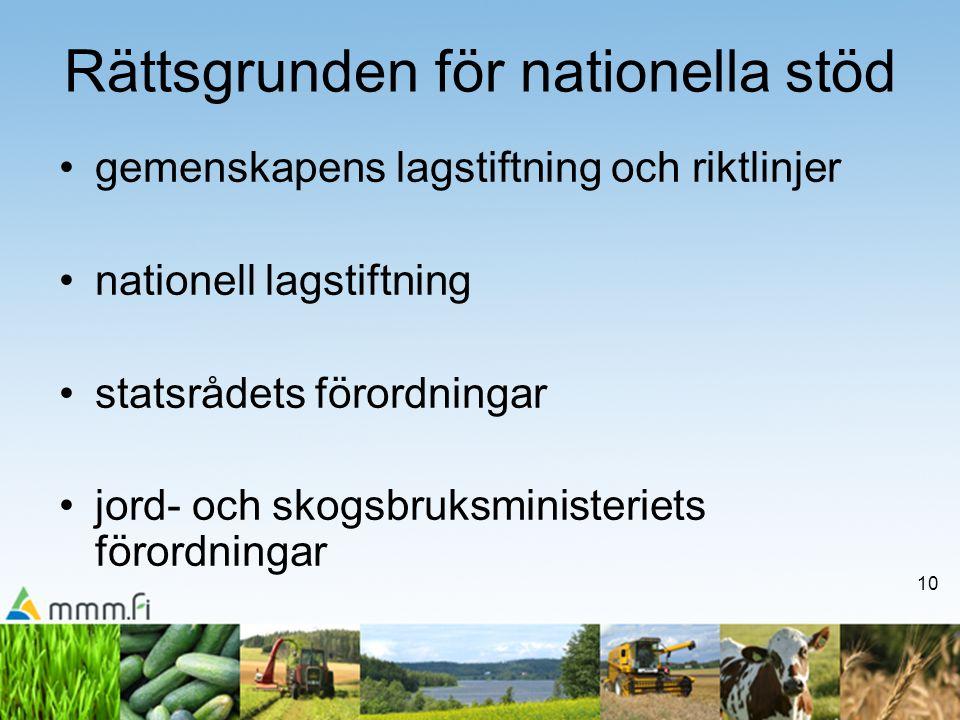 10 Rättsgrunden för nationella stöd •gemenskapens lagstiftning och riktlinjer •nationell lagstiftning •statsrådets förordningar •jord- och skogsbruksm