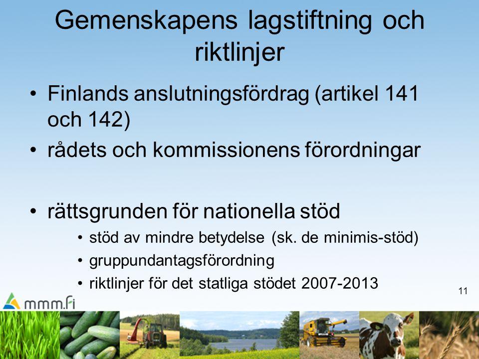 11 Gemenskapens lagstiftning och riktlinjer •Finlands anslutningsfördrag (artikel 141 och 142) •rådets och kommissionens förordningar •rättsgrunden fö