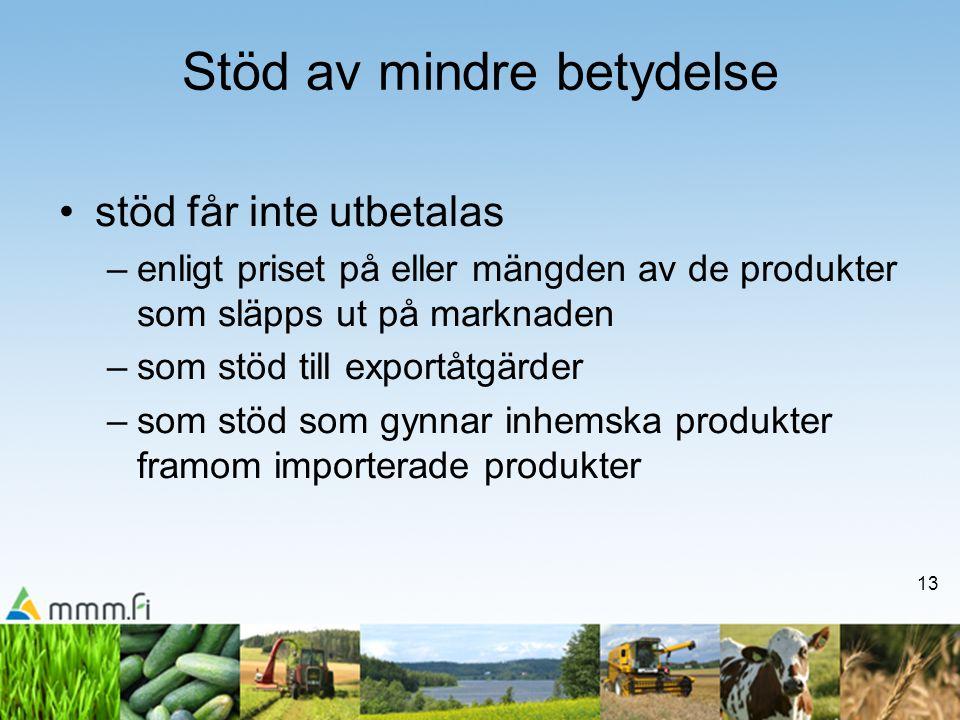 13 •stöd får inte utbetalas –enligt priset på eller mängden av de produkter som släpps ut på marknaden –som stöd till exportåtgärder –som stöd som gyn
