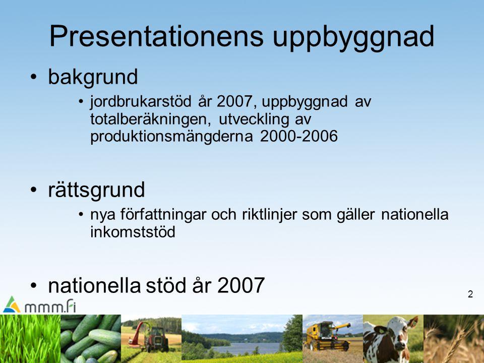 2 Presentationens uppbyggnad •bakgrund •jordbrukarstöd år 2007, uppbyggnad av totalberäkningen, utveckling av produktionsmängderna 2000-2006 •rättsgrund •nya författningar och riktlinjer som gäller nationella inkomststöd •nationella stöd år 2007