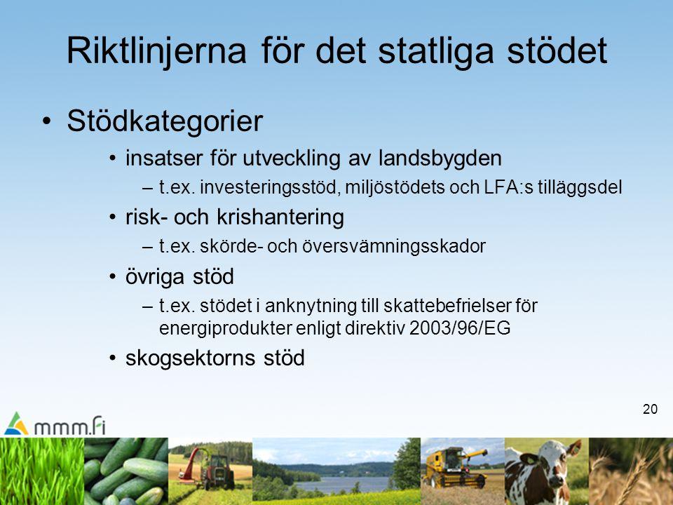 20 Riktlinjerna för det statliga stödet •Stödkategorier •insatser för utveckling av landsbygden –t.ex. investeringsstöd, miljöstödets och LFA:s tilläg