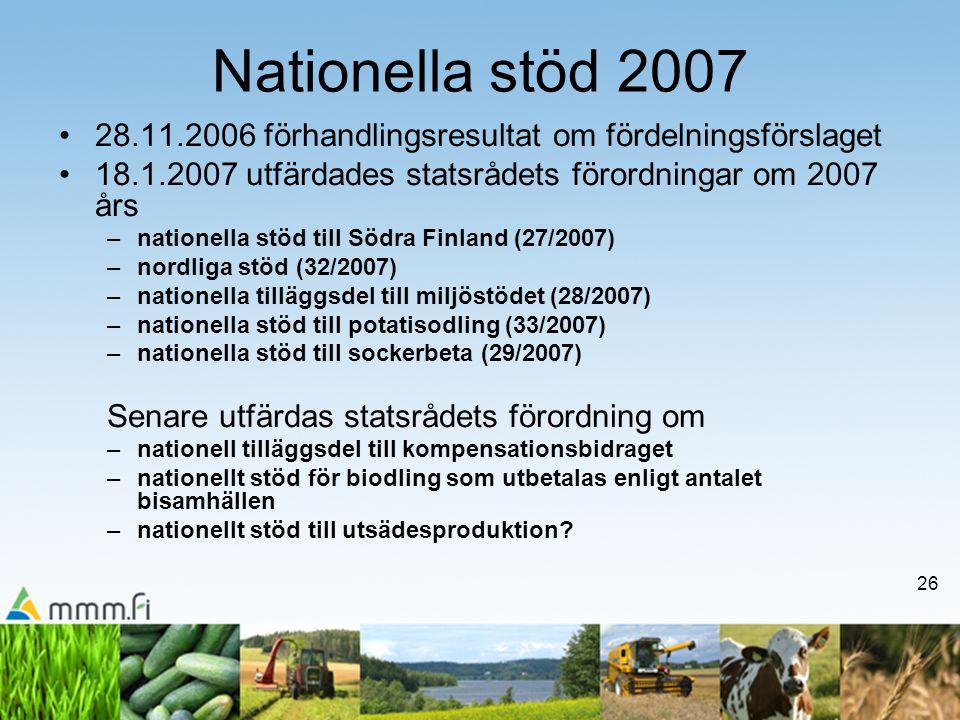 26 Nationella stöd 2007 •28.11.2006 förhandlingsresultat om fördelningsförslaget •18.1.2007 utfärdades statsrådets förordningar om 2007 års –nationell