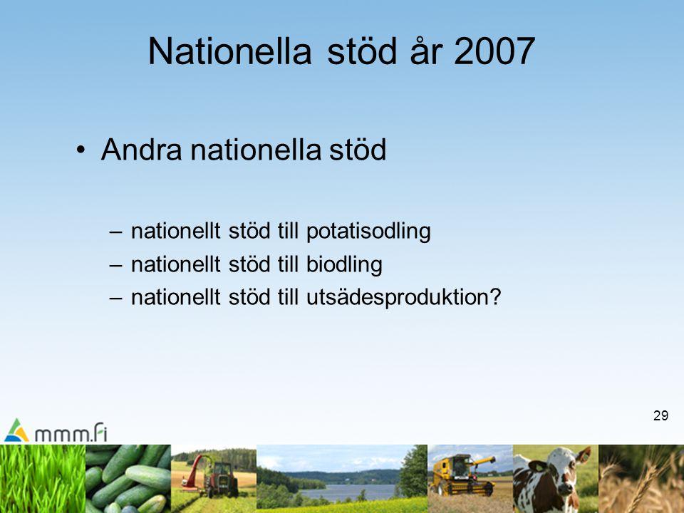 29 Nationella stöd år 2007 •Andra nationella stöd –nationellt stöd till potatisodling –nationellt stöd till biodling –nationellt stöd till utsädesproduktion?