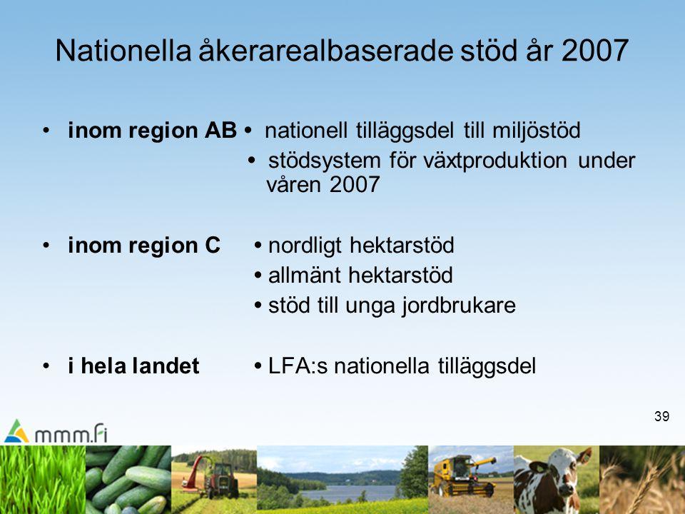 39 Nationella åkerarealbaserade stöd år 2007 •inom region AB • nationell tilläggsdel till miljöstöd • stödsystem för växtproduktion under våren 2007 •inom region C • nordligt hektarstöd • allmänt hektarstöd • stöd till unga jordbrukare •i hela landet • LFA:s nationella tilläggsdel