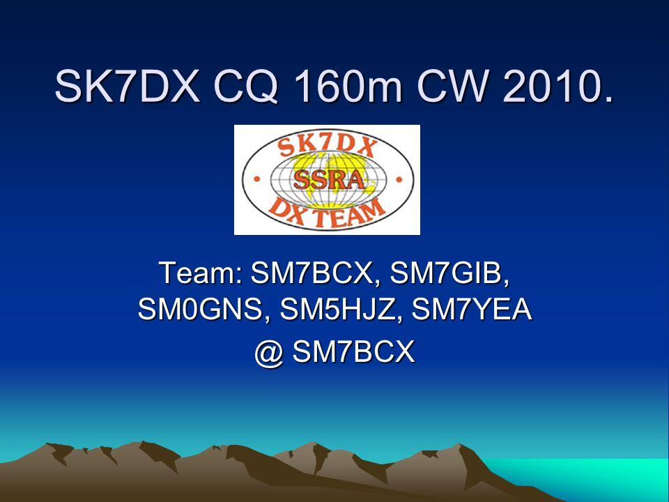 SK7DX CQ 160m CW 2010. Team: SM7BCX, SM7GIB, SM0GNS, SM5HJZ, SM7YEA @ SM7BCX