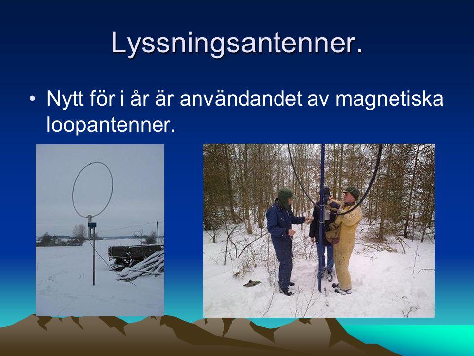 Lyssningsantenner. •Nytt för i år är användandet av magnetiska loopantenner.