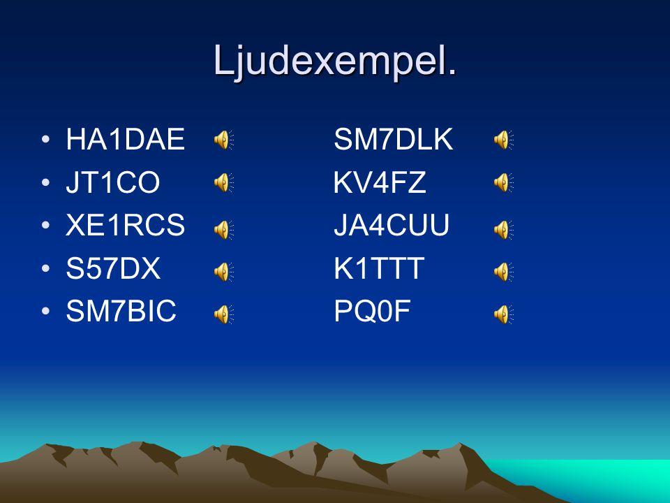 Ljudexempel. •HA1DAE SM7DLK •JT1CO KV4FZ •XE1RCS JA4CUU •S57DX K1TTT •SM7BIC PQ0F