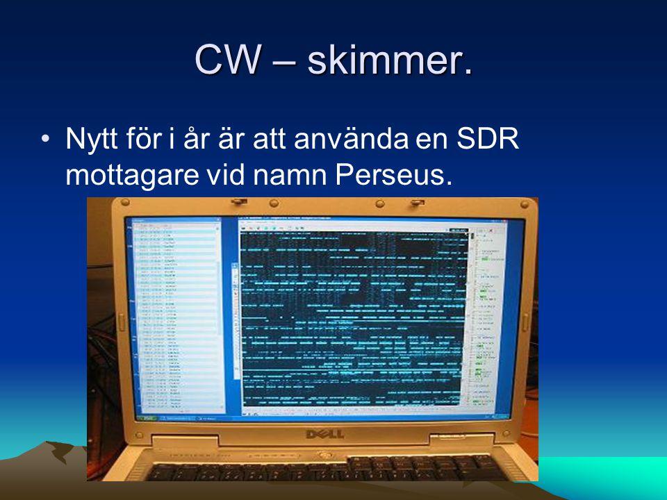 CW – skimmer. •Nytt för i år är att använda en SDR mottagare vid namn Perseus.