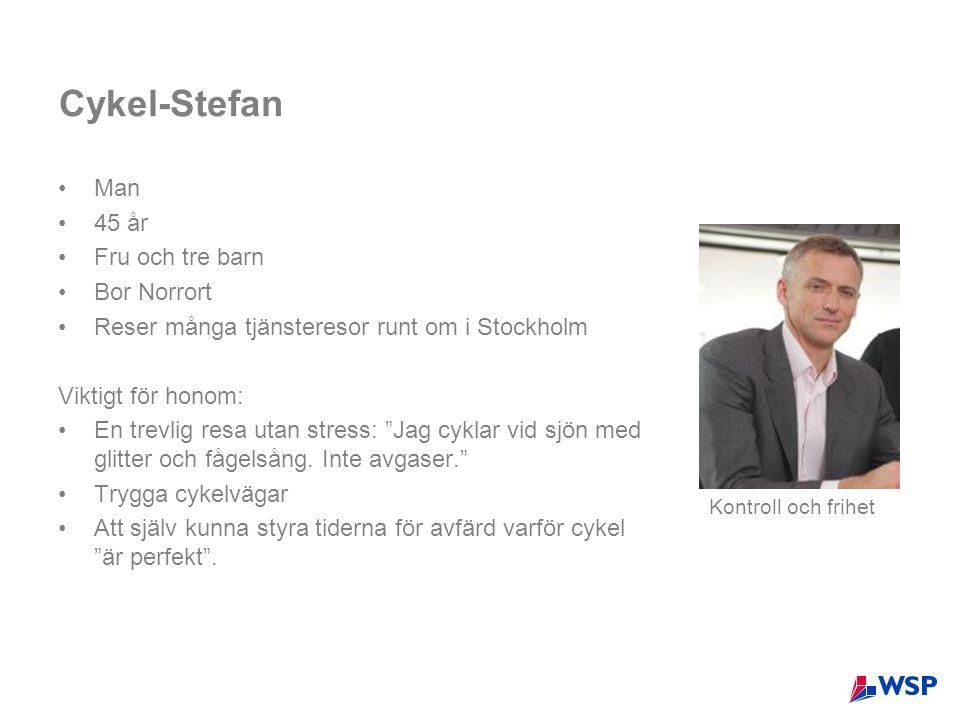 Cykel-Stefan •Man •45 år •Fru och tre barn •Bor Norrort •Reser många tjänsteresor runt om i Stockholm Viktigt för honom: •En trevlig resa utan stress: Jag cyklar vid sjön med glitter och fågelsång.