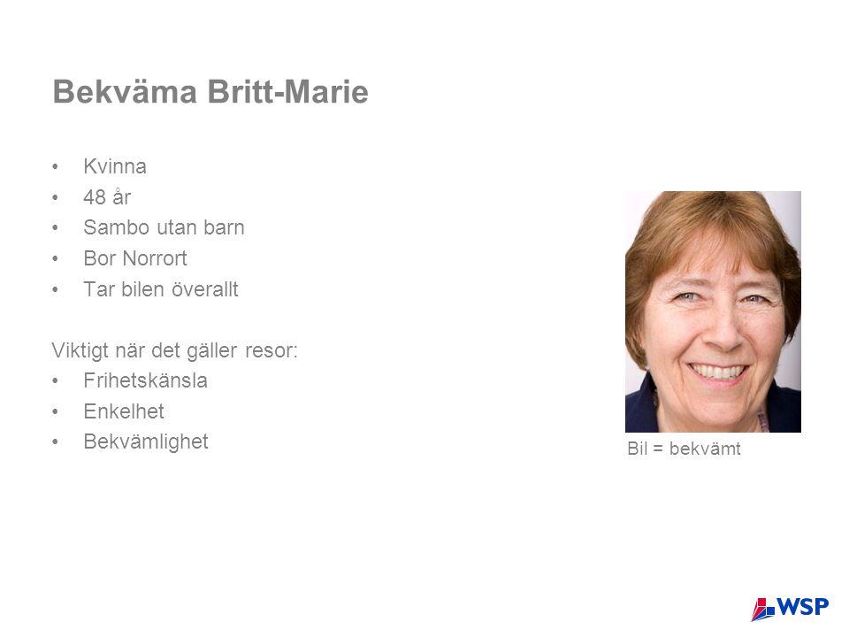 Bekväma Britt-Marie •Kvinna •48 år •Sambo utan barn •Bor Norrort •Tar bilen överallt Viktigt när det gäller resor: •Frihetskänsla •Enkelhet •Bekvämlighet Bil = bekvämt