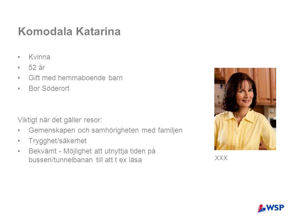 Komodala Katarina •Kvinna •52 år •Gift med hemmaboende barn •Bor Söderort Viktigt när det gäller resor: •Gemenskapen och samhörigheten med familjen •T