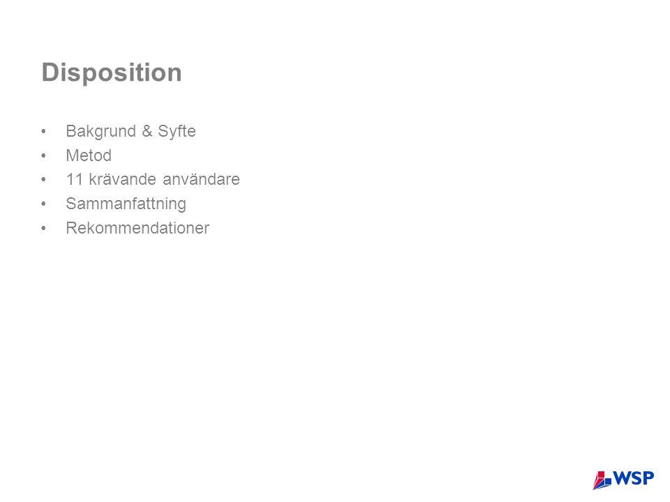 Disposition •Bakgrund & Syfte •Metod •11 krävande användare •Sammanfattning •Rekommendationer