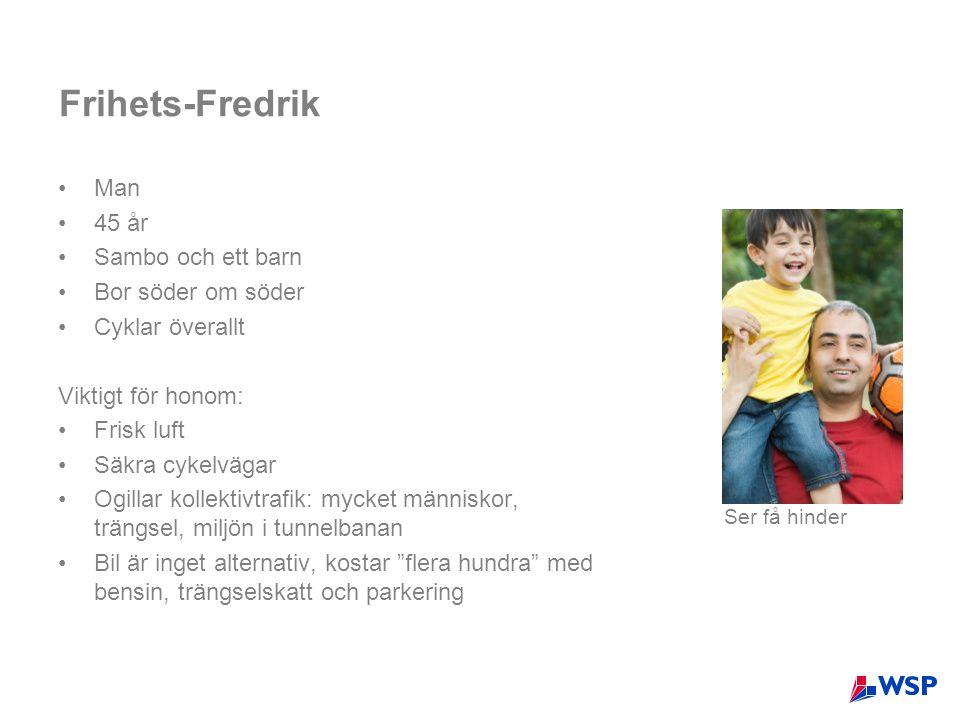 Frihets-Fredrik •Man •45 år •Sambo och ett barn •Bor söder om söder •Cyklar överallt Viktigt för honom: •Frisk luft •Säkra cykelvägar •Ogillar kollekt