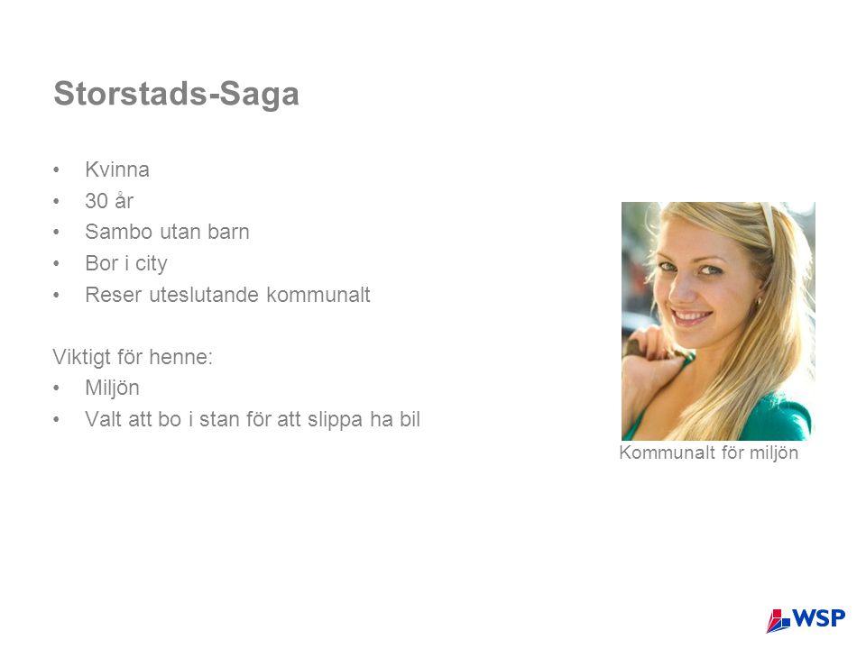 Storstads-Saga •Kvinna •30 år •Sambo utan barn •Bor i city •Reser uteslutande kommunalt Viktigt för henne: •Miljön •Valt att bo i stan för att slippa ha bil Kommunalt för miljön