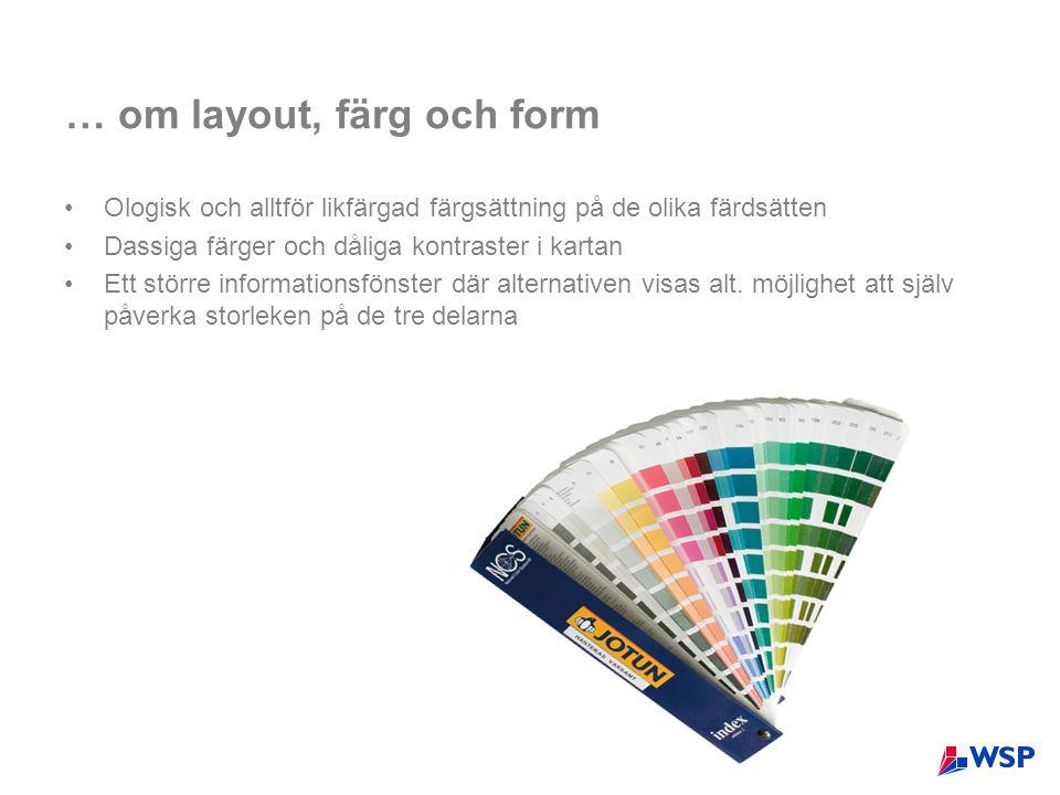 … om layout, färg och form •Ologisk och alltför likfärgad färgsättning på de olika färdsätten •Dassiga färger och dåliga kontraster i kartan •Ett större informationsfönster där alternativen visas alt.