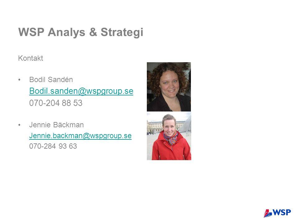 WSP Analys & Strategi Kontakt •Bodil Sandén Bodil.sanden@wspgroup.se 070-204 88 53 •Jennie Bäckman Jennie.backman@wspgroup.se 070-284 93 63