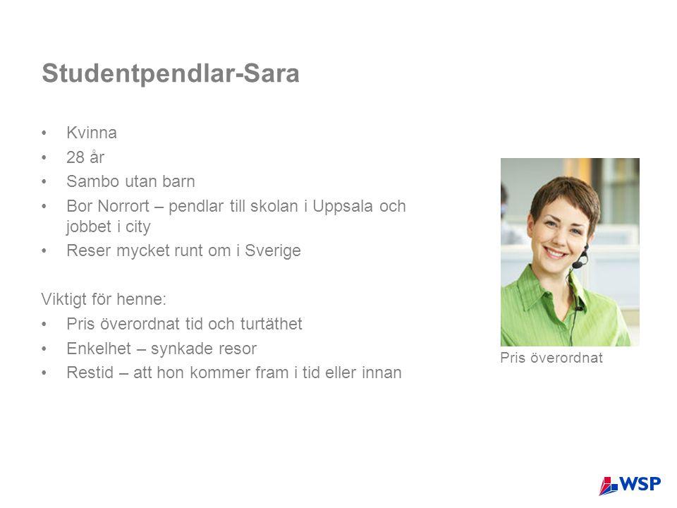 Studentpendlar-Sara •Kvinna •28 år •Sambo utan barn •Bor Norrort – pendlar till skolan i Uppsala och jobbet i city •Reser mycket runt om i Sverige Vik
