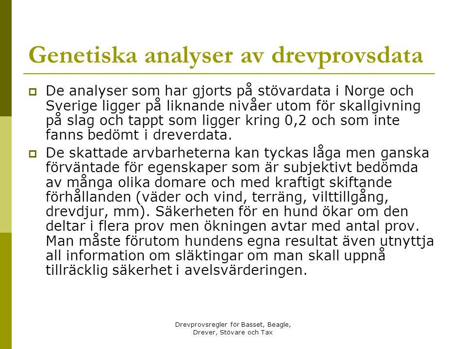 Drevprovsregler för Basset, Beagle, Drever, Stövare och Tax Genetiska analyser av drevprovsdata  De analyser som har gjorts på stövardata i Norge och