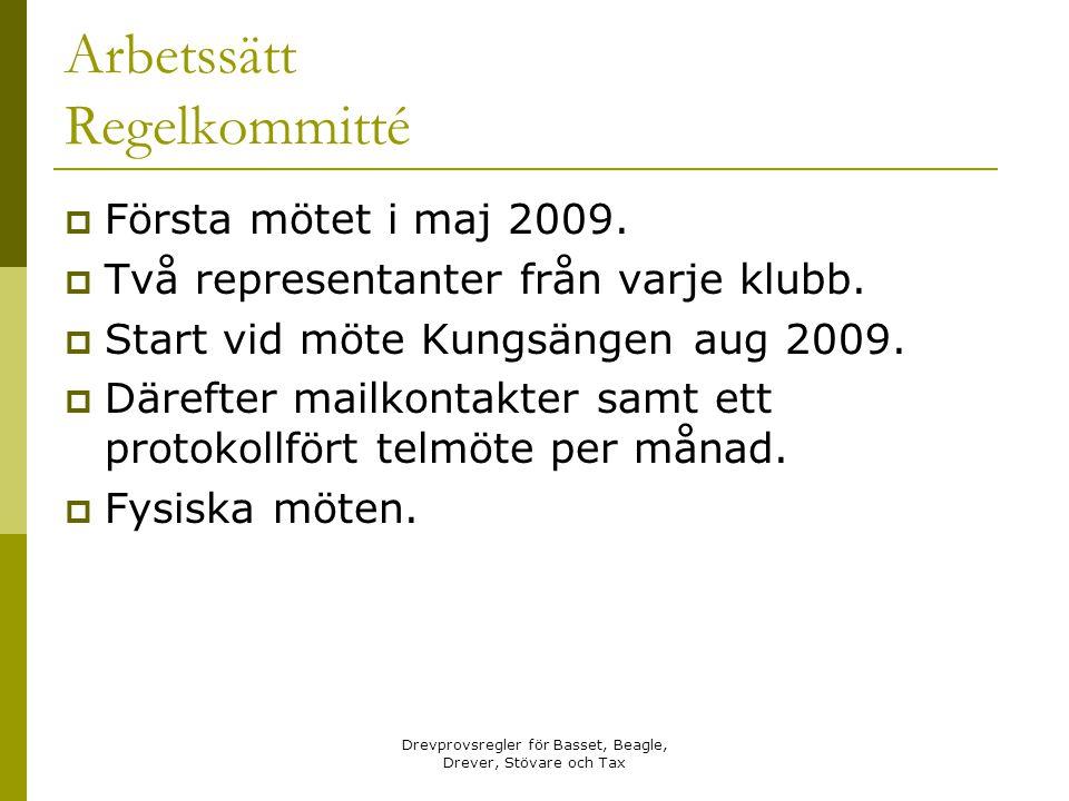 Drevprovsregler för Basset, Beagle, Drever, Stövare och Tax Arbetssätt Regelkommitté  Första mötet i maj 2009.  Två representanter från varje klubb.