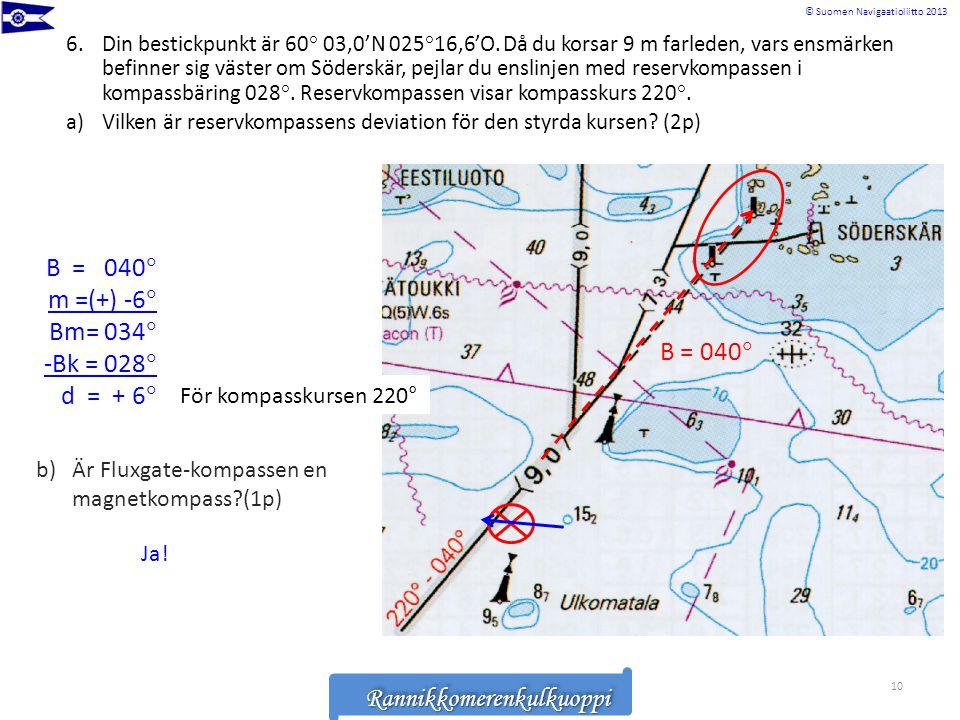 Rannikkomerenkulkuoppi © Suomen Navigaatioliitto 2013RannikkomerenkulkuoppiRannikkomerenkulkuoppi 6.Din bestickpunkt är 60° 03,0'N 025°16,6'O. Då du k