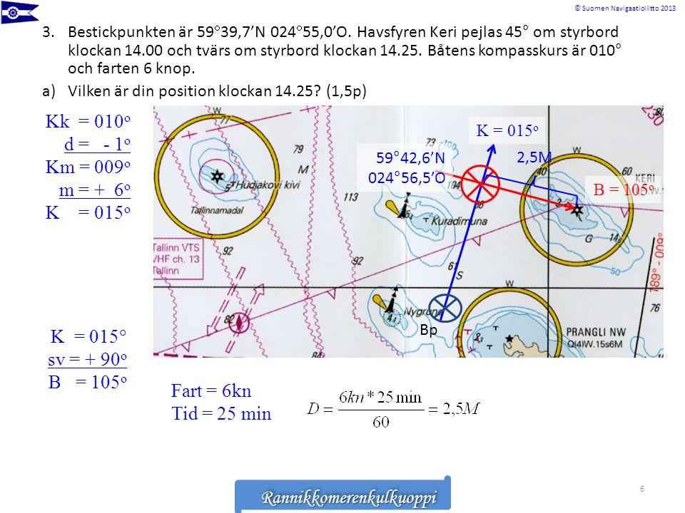 Rannikkomerenkulkuoppi © Suomen Navigaatioliitto 2013RannikkomerenkulkuoppiRannikkomerenkulkuoppi 3.Bestickpunkten är 59  39,7'N 024  55,0'O. Havsfy