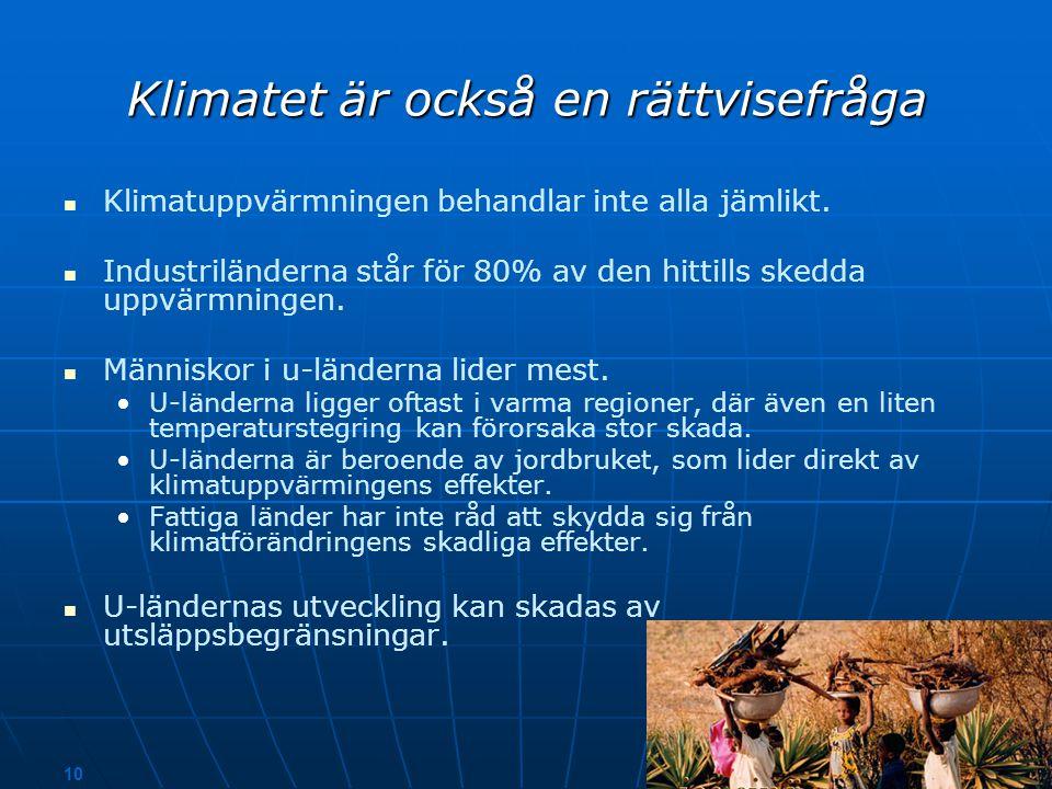 9 ton koldioxid / invånare Källan: Statistikcentralen 2004 Världens medeltal USA Finland Japan Polen Sverige Kina Brasilien Indien Tanzania Har varje