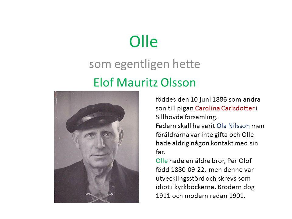Olle som egentligen hette Elof Mauritz Olsson föddes den 10 juni 1886 som andra son till pigan Carolina Carlsdotter i Sillhövda församling. Fadern ska