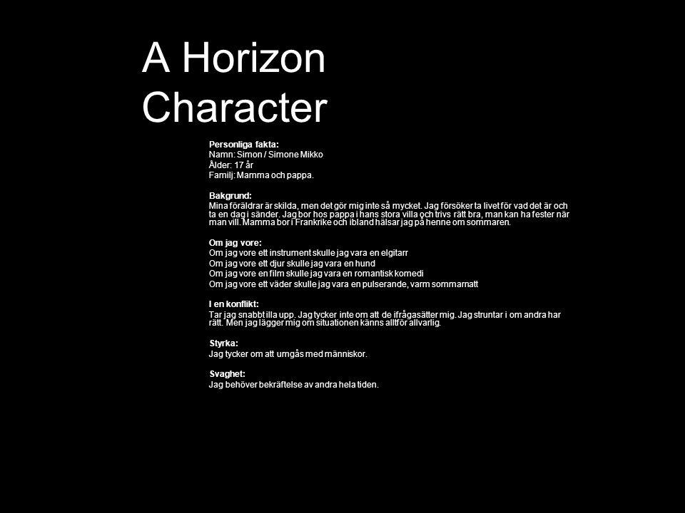 A Horizon Character Personliga fakta: Namn: Simon / Simone Mikko Ålder: 17 år Familj: Mamma och pappa.