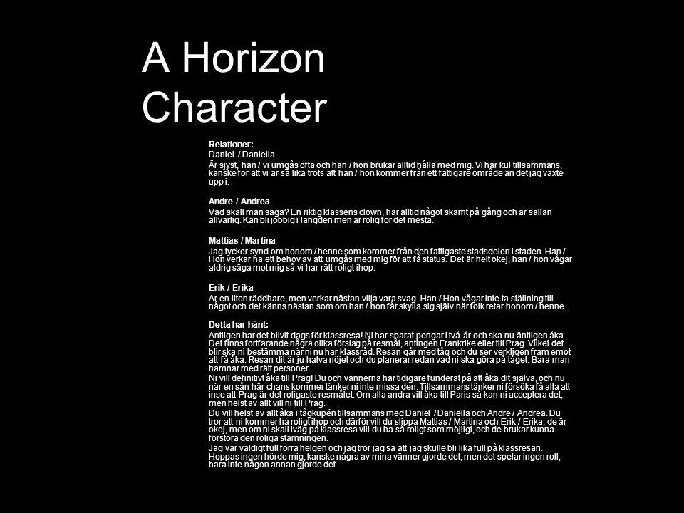 A Horizon Character Relationer: Daniel / Daniella Är sjyst, han / vi umgås ofta och han / hon brukar alltid hålla med mig.