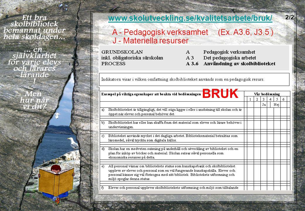 www.skolutveckling.se/kvalitetsarbete/bruk/ A - Pedagogisk verksamhet (Ex. A3.6, J3.5 ) J - Materiella resurser BRUK 2/2