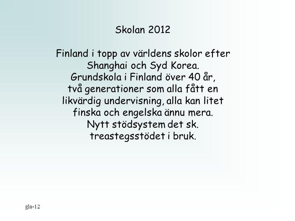 Skolan 2012 Finland i topp av världens skolor efter Shanghai och Syd Korea. Grundskola i Finland över 40 år, två generationer som alla fått en likvärd