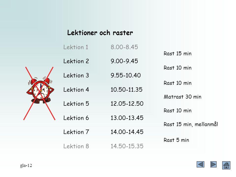 Lektioner och raster Lektion 18.00-8.45 Lektion 29.00-9.45 Lektion 39.55-10.40 Lektion 410.50-11.35 Lektion 512.05-12.50 Lektion 613.00-13.45 Lektion