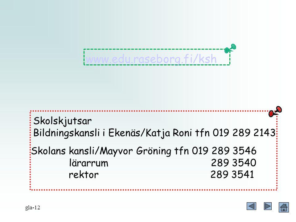 Skolskjutsar Bildningskansli i Ekenäs/Katja Roni tfn 019 289 2143 Skolans kansli/Mayvor Gröning tfn 019 289 3546 lärarrum 289 3540 rektor 289 3541 www