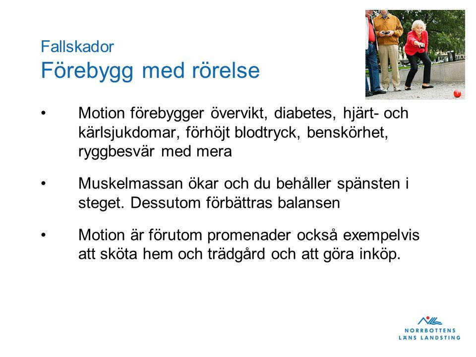 Fallskador Förebygg med rörelse •Motion förebygger övervikt, diabetes, hjärt- och kärlsjukdomar, förhöjt blodtryck, benskörhet, ryggbesvär med mera •M