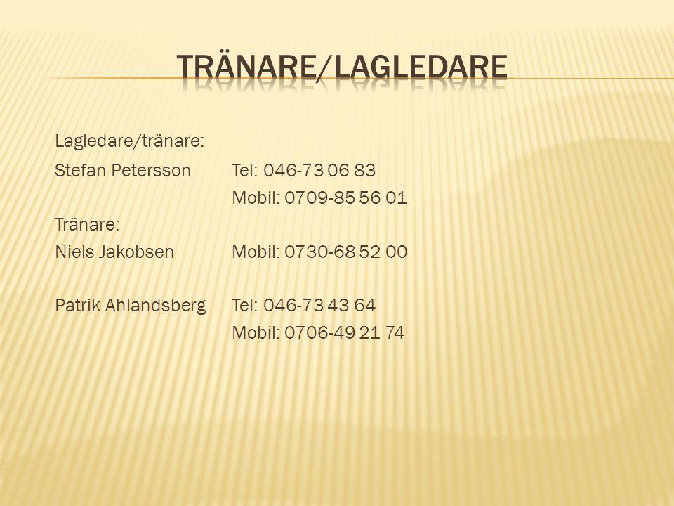 Lagledare/tränare: Stefan PeterssonTel: 046-73 06 83 Mobil: 0709-85 56 01 Tränare: Niels JakobsenMobil: 0730-68 52 00 Patrik AhlandsbergTel: 046-73 43