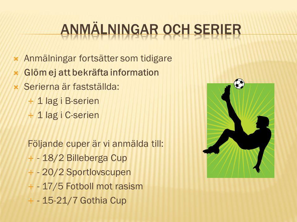  Anmälningar fortsätter som tidigare  Glöm ej att bekräfta information  Serierna är fastställda:  1 lag i B-serien  1 lag i C-serien Följande cuper är vi anmälda till:  - 18/2 Billeberga Cup  - 20/2 Sportlovscupen  - 17/5 Fotboll mot rasism  - 15-21/7 Gothia Cup