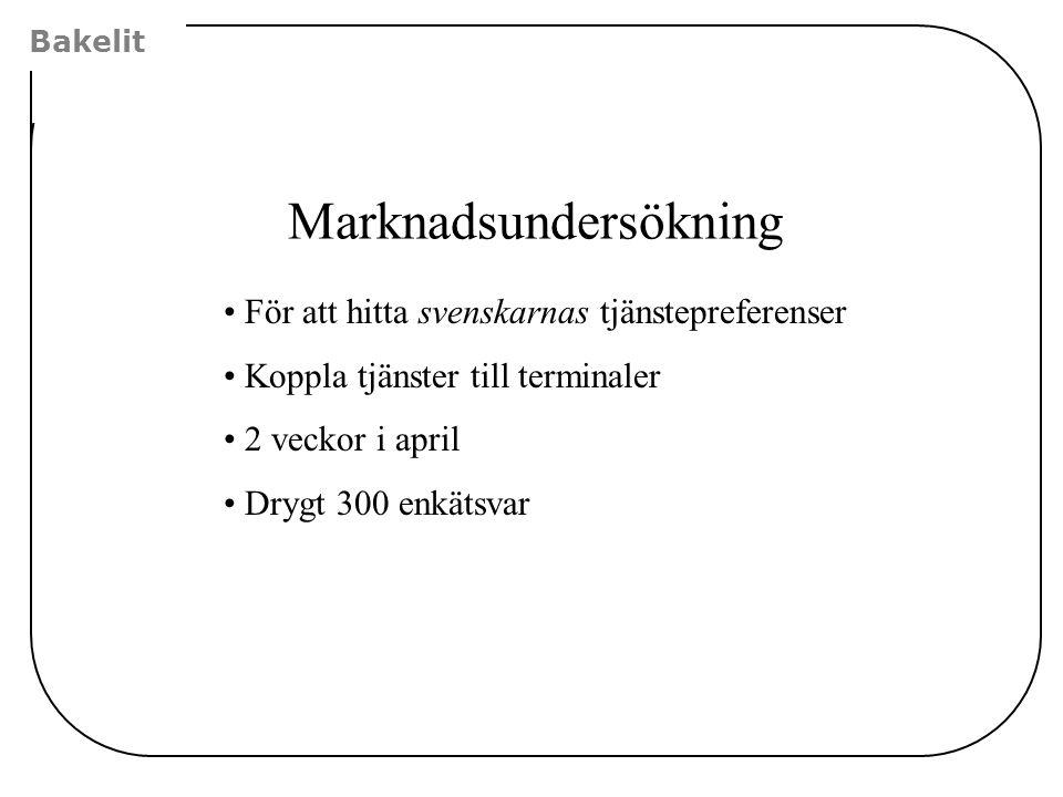Bakelit Marknadsundersökning •För att hitta svenskarnas tjänstepreferenser •Koppla tjänster till terminaler •2 veckor i april •Drygt 300 enkätsvar