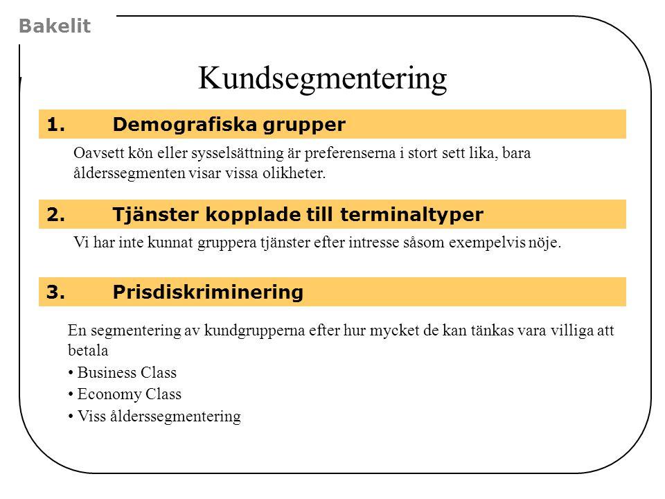 Bakelit Kundsegmentering 3.Prisdiskriminering 1.Demografiska grupper Oavsett kön eller sysselsättning är preferenserna i stort sett lika, bara ålderss