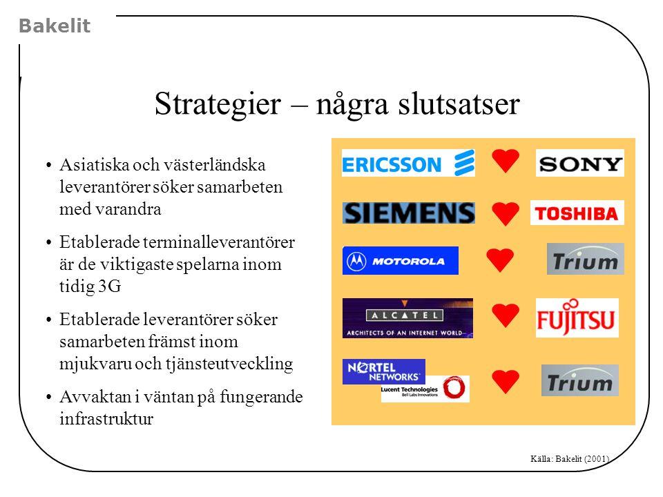 Bakelit Strategier – några slutsatser •Asiatiska och västerländska leverantörer söker samarbeten med varandra •Etablerade terminalleverantörer är de v
