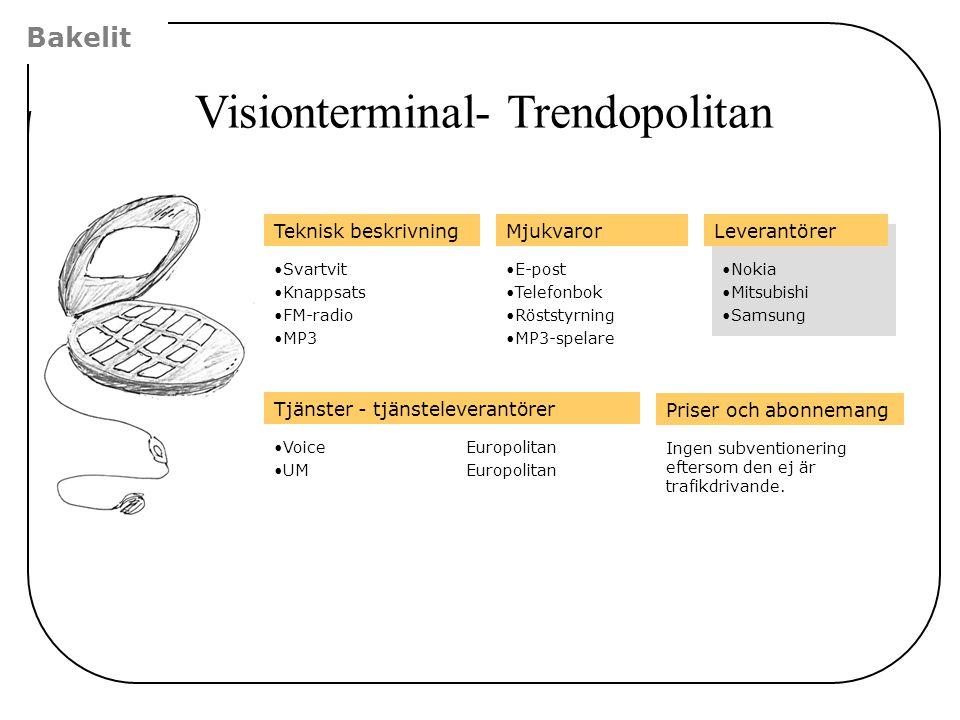Bakelit Visionterminal- Trendopolitan Leverantörer •Nokia •Mitsubishi •Samsung Tjänster - tjänsteleverantörer •VoiceEuropolitan •UMEuropolitan Priser