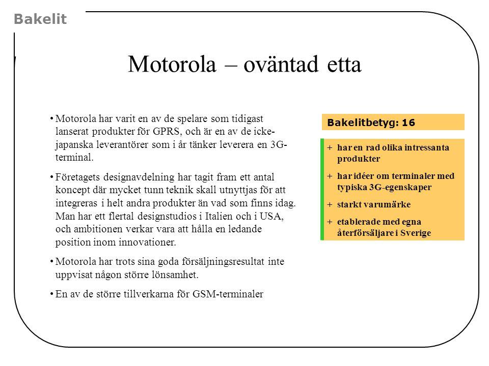 Motorola – oväntad etta Bakelit +har en rad olika intressanta produkter +har idéer om terminaler med typiska 3G-egenskaper +starkt varumärke +etablera
