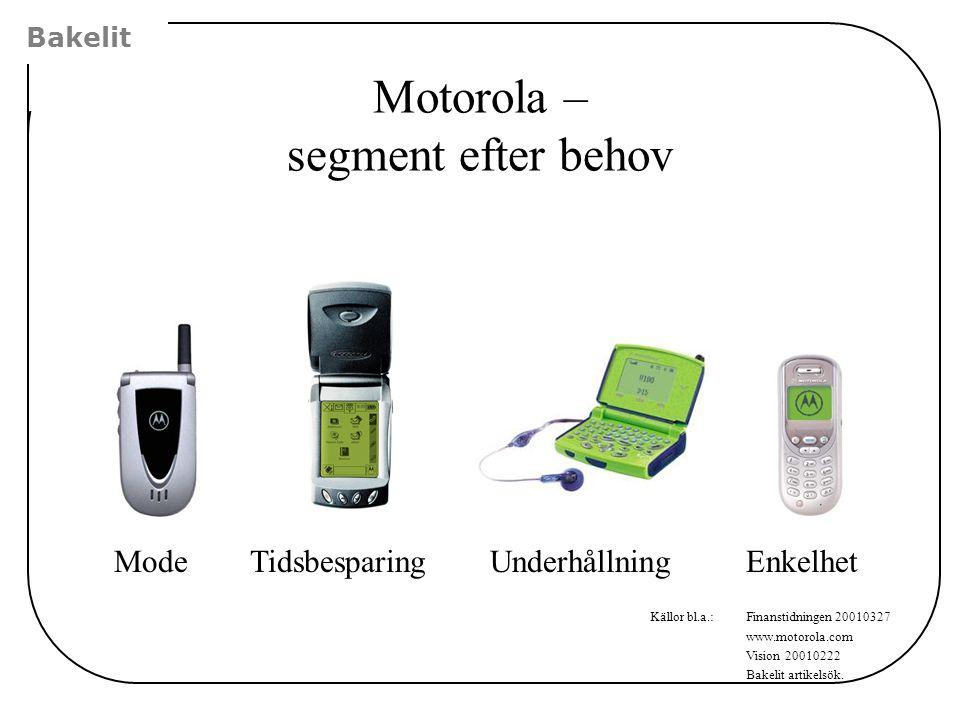 Bakelit ModeEnkelhetTidsbesparingUnderhållning Källor bl.a.:Finanstidningen 20010327 www.motorola.com Vision 20010222 Bakelit artikelsök. Motorola – s