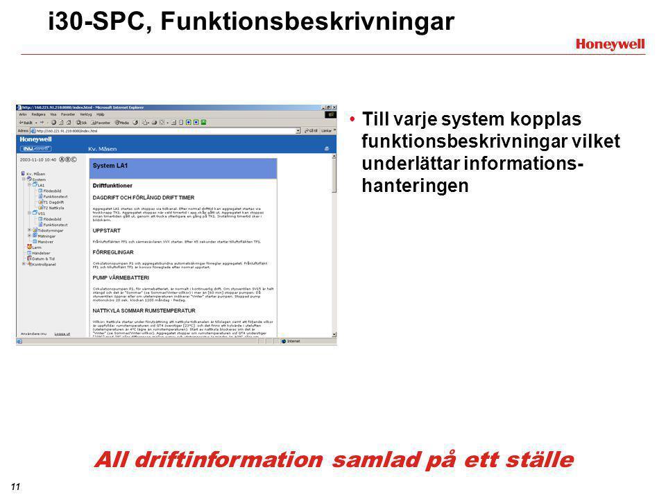 11 i30-SPC, Funktionsbeskrivningar •Till varje system kopplas funktionsbeskrivningar vilket underlättar informations- hanteringen All driftinformation