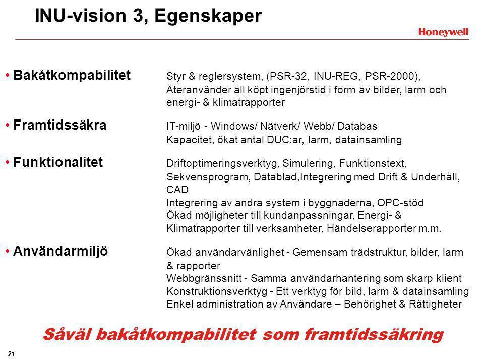 21 • Bakåtkompabilitet Styr & reglersystem, (PSR-32, INU-REG, PSR-2000), Återanvänder all köpt ingenjörstid i form av bilder, larm och energi- & klima