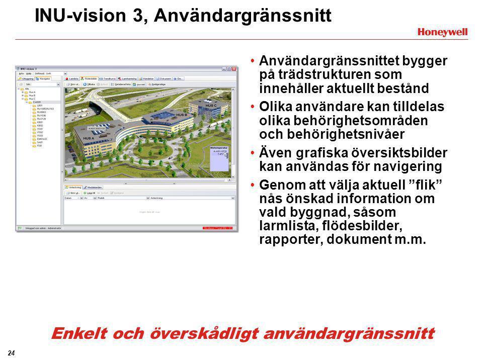 24 INU-vision 3, Användargränssnitt •Användargränssnittet bygger på trädstrukturen som innehåller aktuellt bestånd •Olika användare kan tilldelas olik