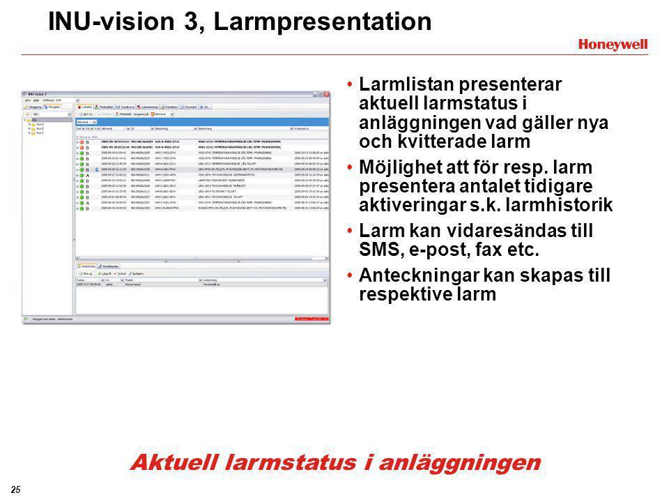 25 INU-vision 3, Larmpresentation •Larmlistan presenterar aktuell larmstatus i anläggningen vad gäller nya och kvitterade larm •Möjlighet att för resp