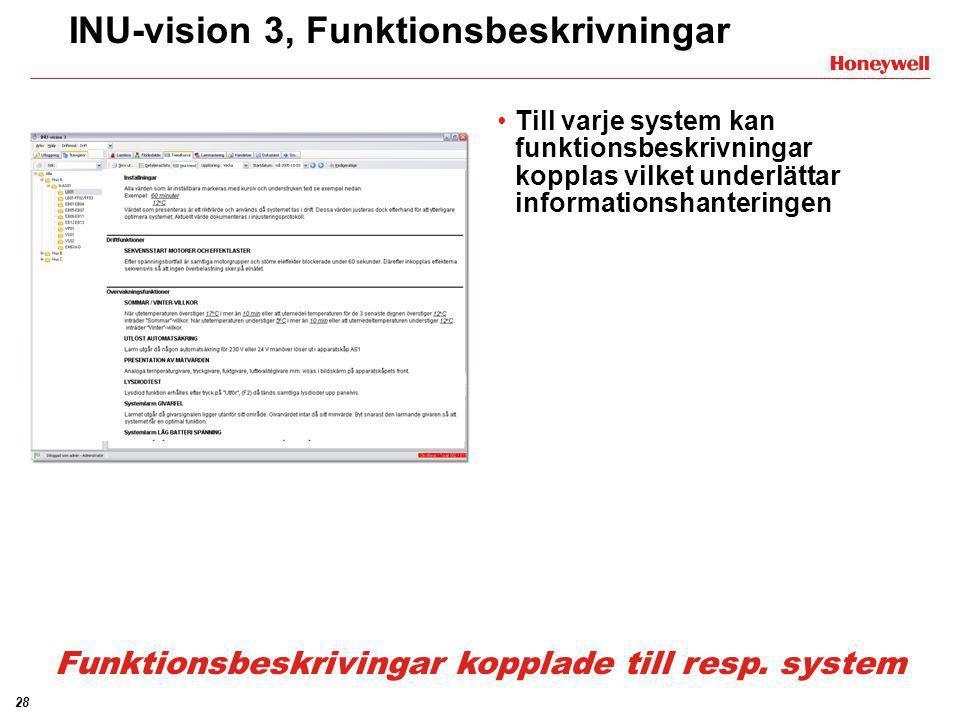 28 INU-vision 3, Funktionsbeskrivningar •Till varje system kan funktionsbeskrivningar kopplas vilket underlättar informationshanteringen Funktionsbesk