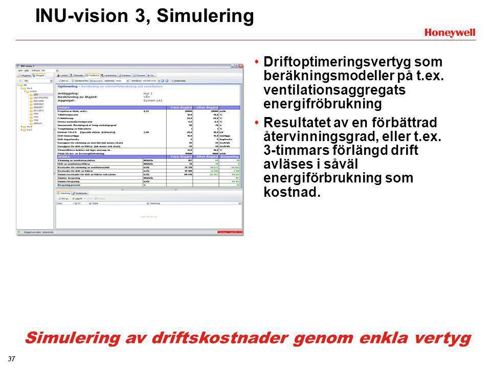 37 INU-vision 3, Simulering •Driftoptimeringsvertyg som beräkningsmodeller på t.ex. ventilationsaggregats energifröbrukning •Resultatet av en förbättr