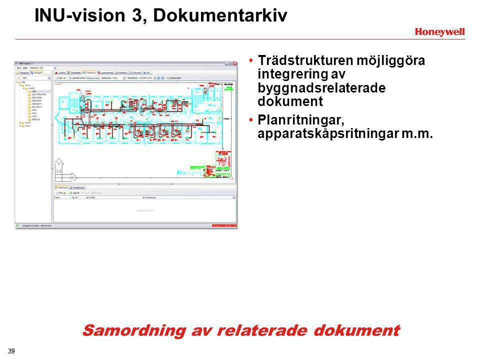 39 INU-vision 3, Dokumentarkiv •Trädstrukturen möjliggöra integrering av byggnadsrelaterade dokument •Planritningar, apparatskåpsritningar m.m. Samord
